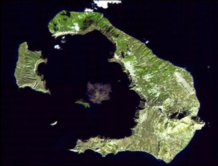 Santorini crater, Greece; remnants of Minoan Eruption, circa 1630 BC (NASA)